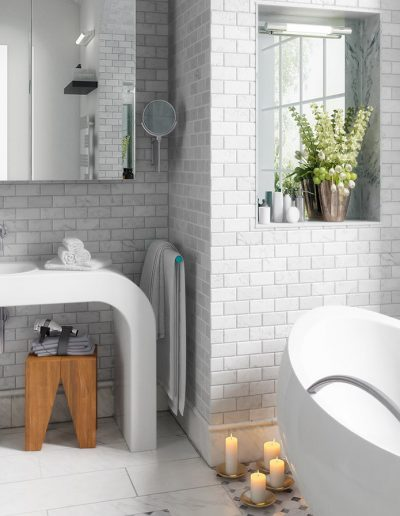 Old building bathroom after renovation (panoramic) - 3d visualiz